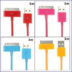 واير  3 أمتار ألوان USB أيفون iphone